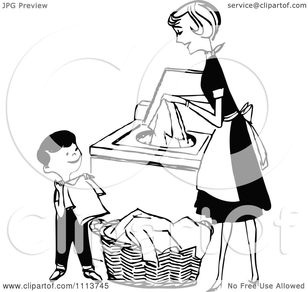 Clipart Retro Black And White Mother And Son Folding And
