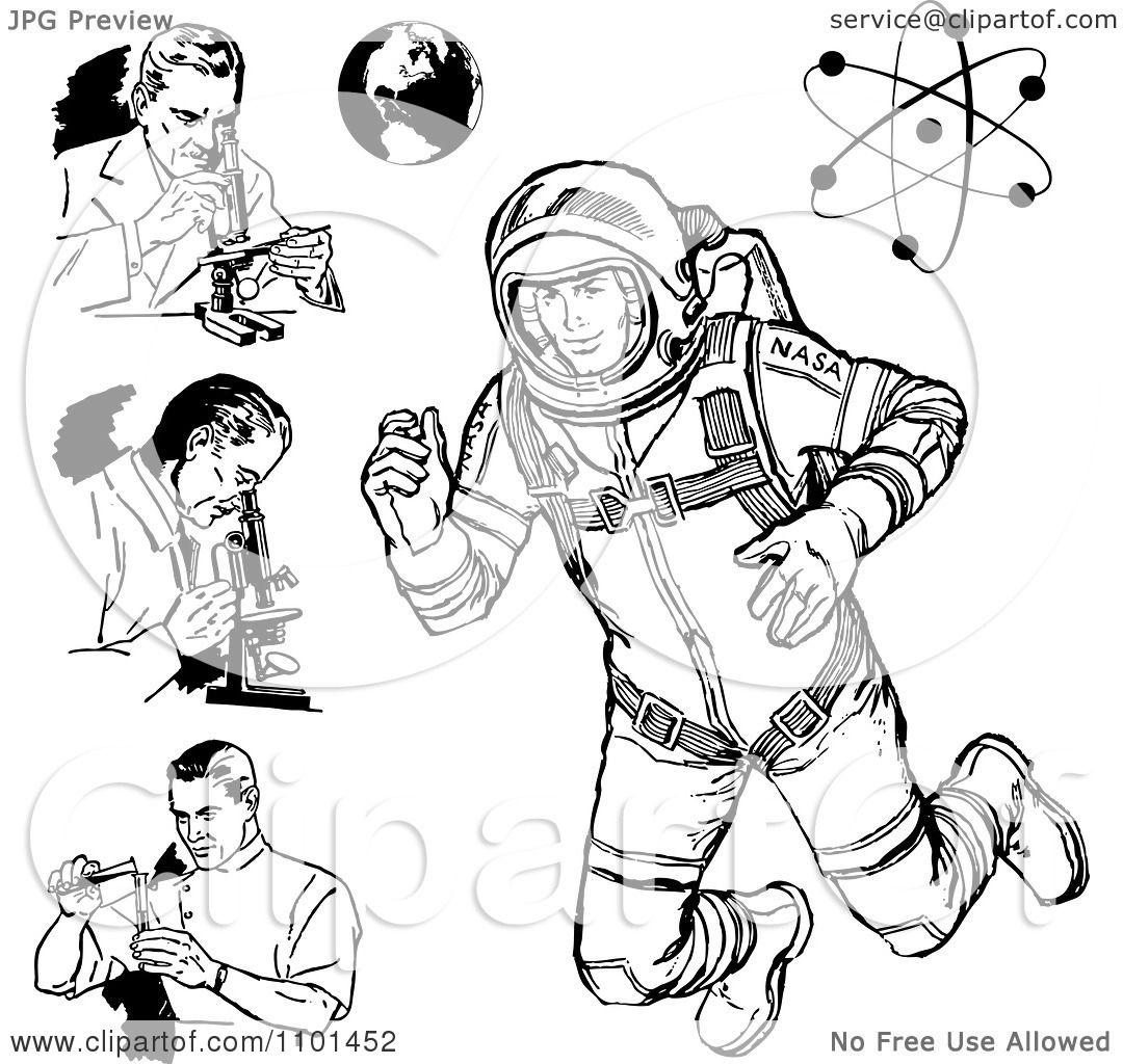 Clipart Retro Black And White Scientists Astronaut Earth