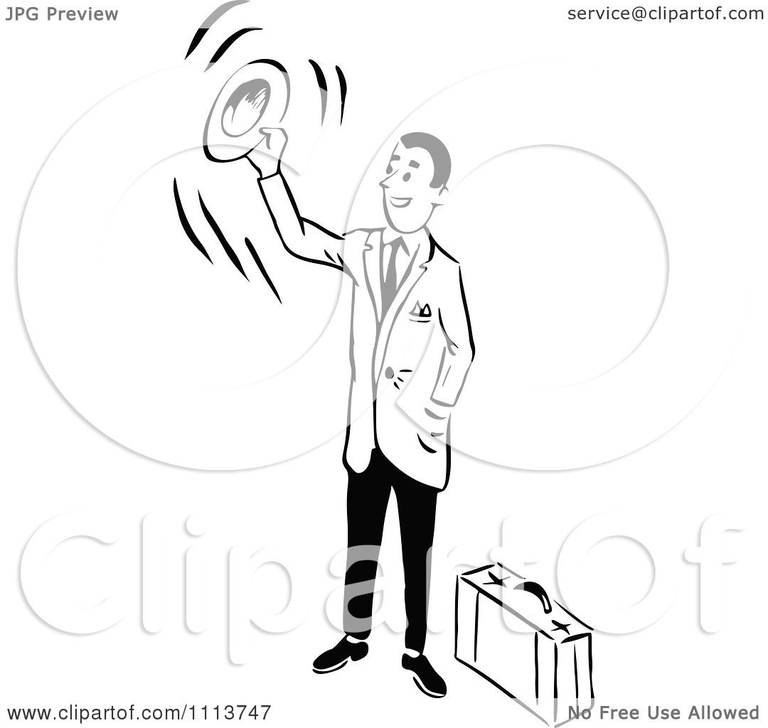 Clipart Retro Black And White Traveling Businessman Waving