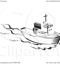 clipart retro black and white tug boat royalty free vector illustration by patrimonio [ 1080 x 1024 Pixel ]