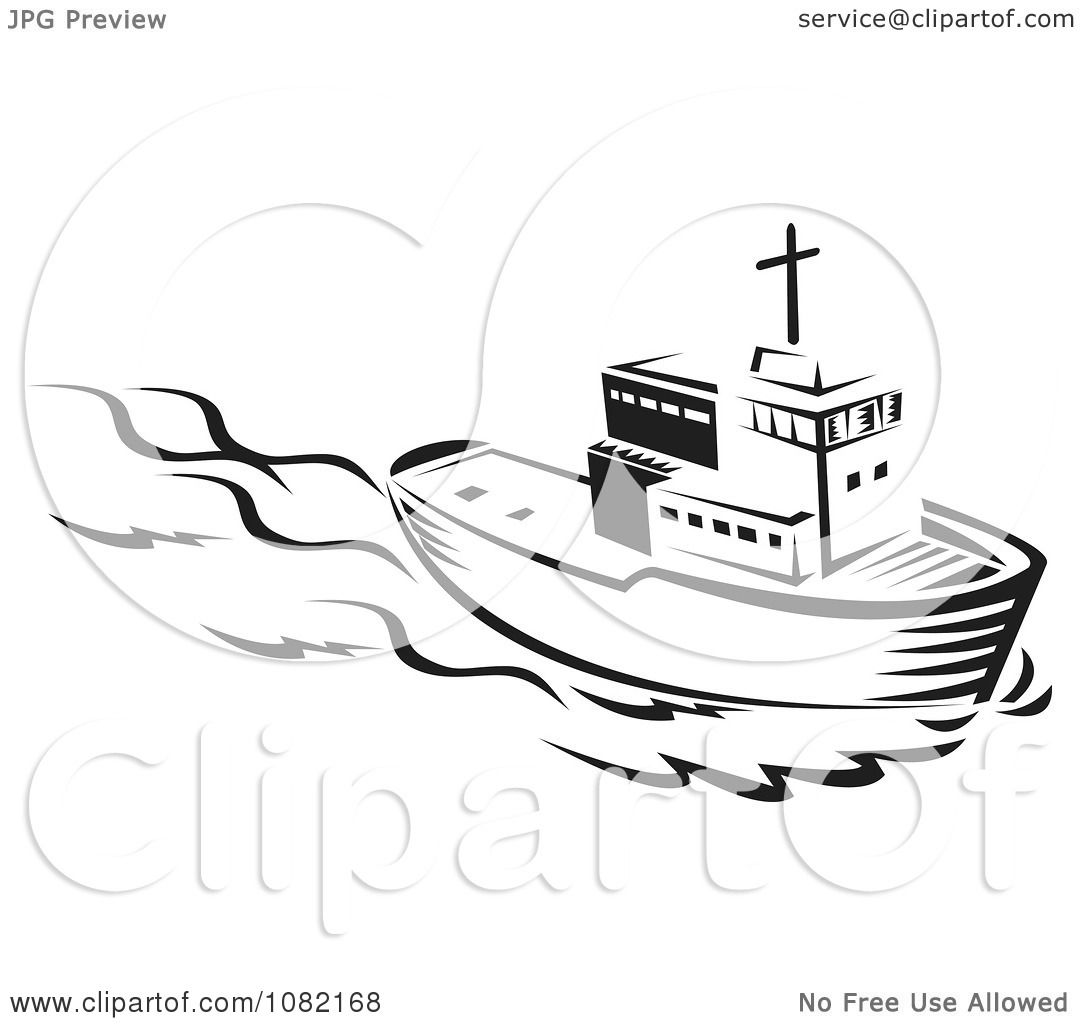 hight resolution of clipart retro black and white tug boat royalty free vector illustration by patrimonio