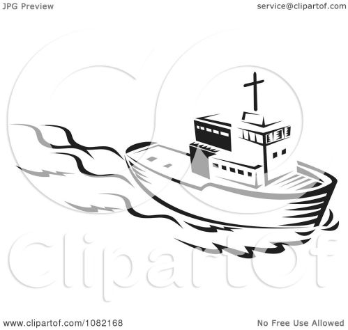 small resolution of clipart retro black and white tug boat royalty free vector illustration by patrimonio
