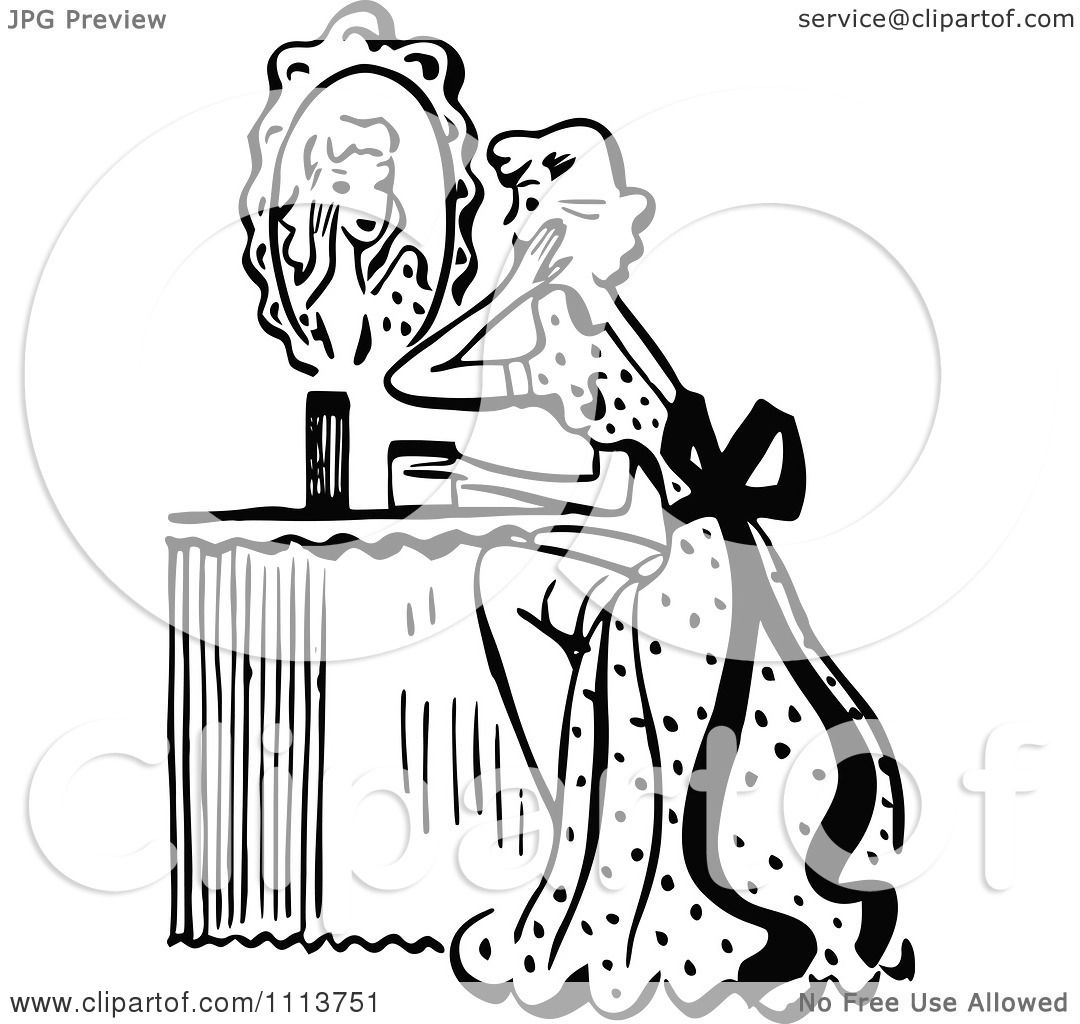 Clipart Retro Black And White Woman Looking At A Mirror At