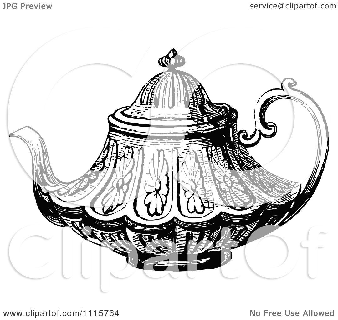 Clipart Retro Vintage Black And White Decorative Tea Pot 2