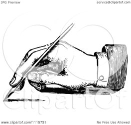 writing hand pen clipart illustration fountain retro royalty vector prawny background