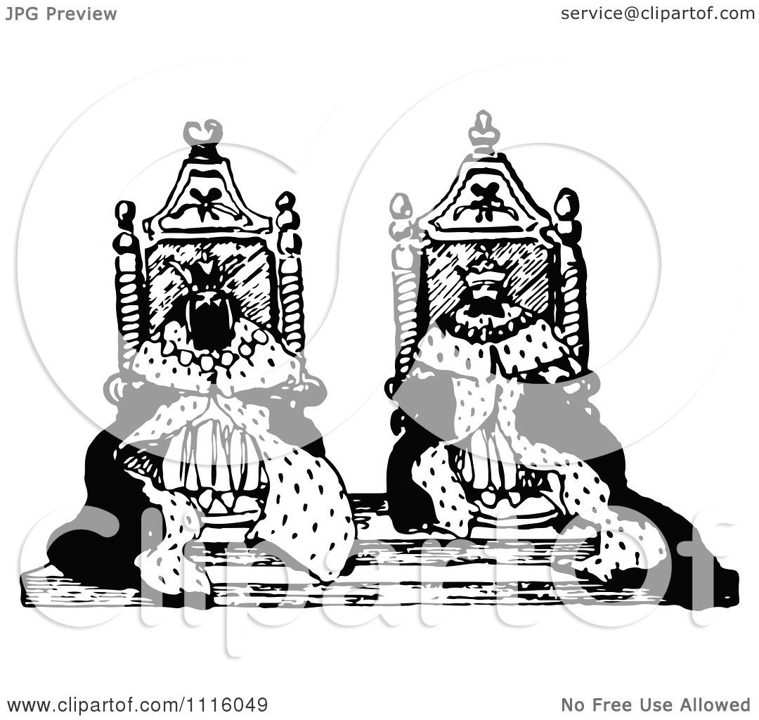 Clipart Retro Vintage Black And White Kings On Their