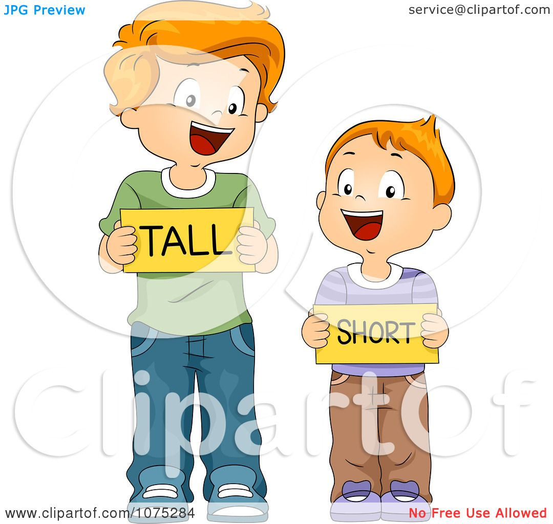 Clipart School Boys Holding Tall And Short Flash Cards