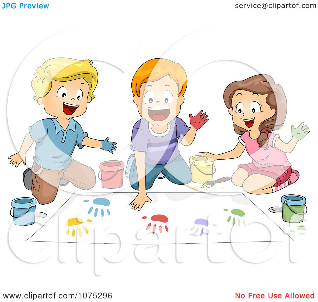 hight resolution of clipart school children hand painting in art class royalty free vector illustration by bnp design