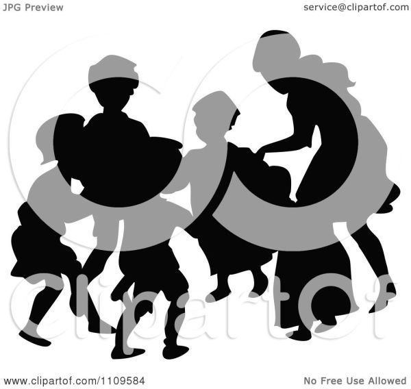 clipart silhouetted children playing