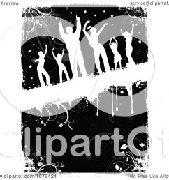 clipart silhouetted dancers over black and white floral grunge royalty free vector illustration by kj [ 1080 x 1024 Pixel ]