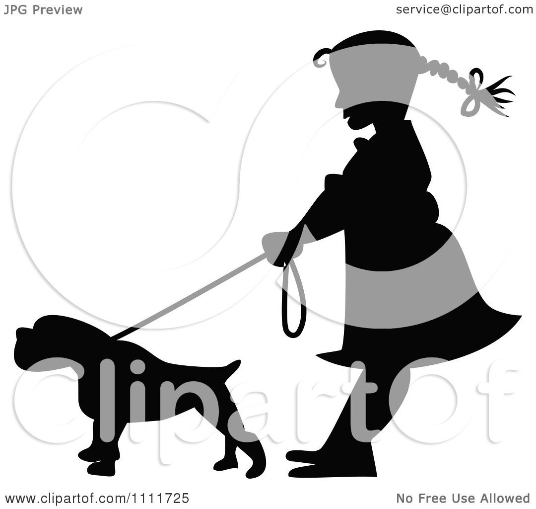 Clipart Silhouetted Girl With A Dog On A Leash In Black