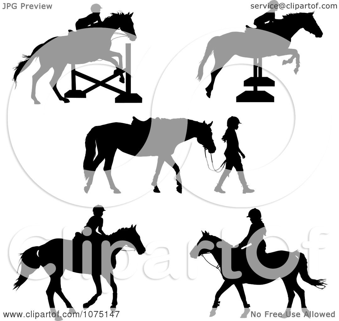 Clipart Silhouetted Horses And Equestrian Girls