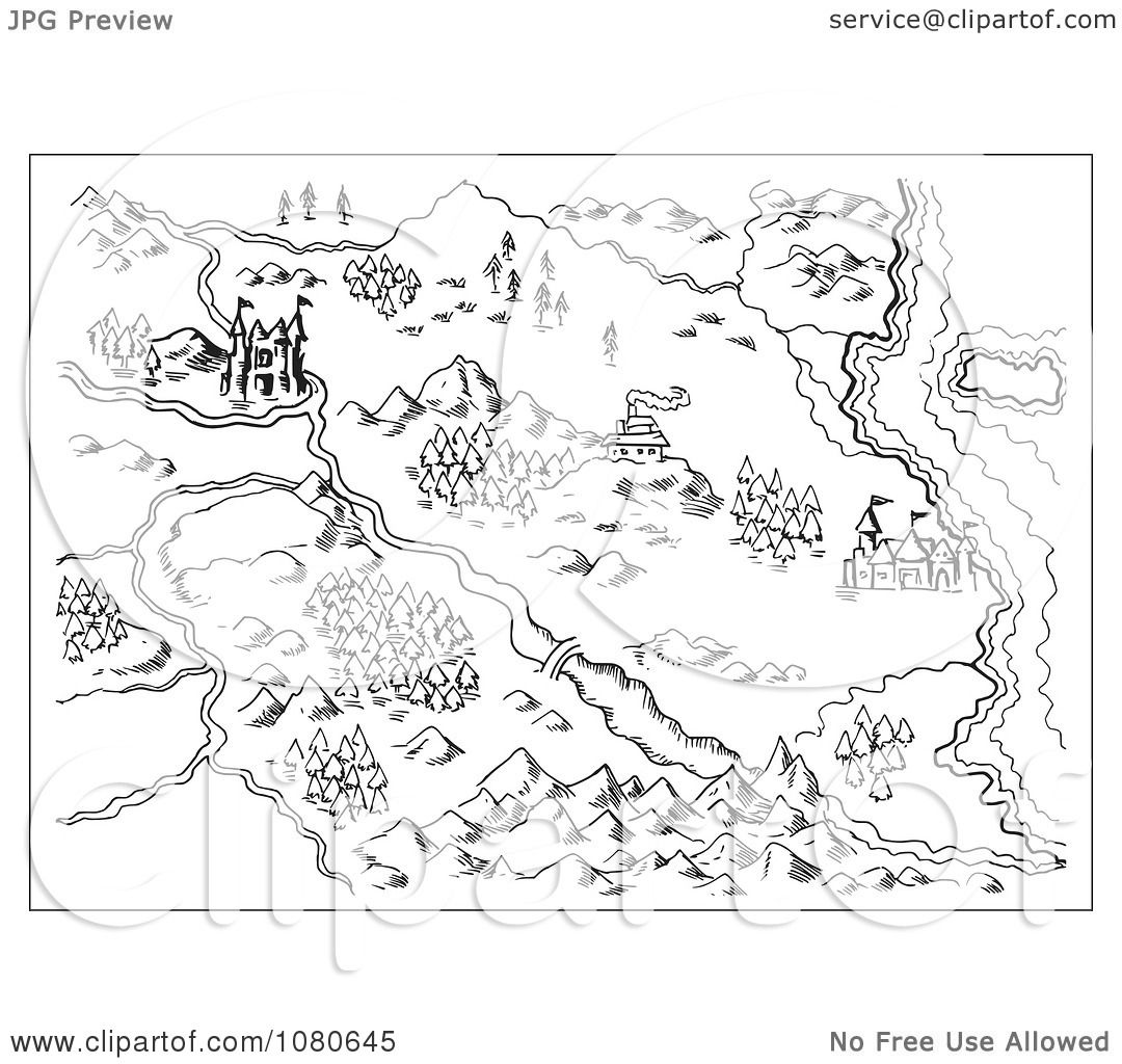 Clipart Sketched Fantasy Land Map