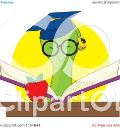 clipart smart bookworm reading a book by an apple royalty free vector illustration by maria bell [ 1080 x 1024 Pixel ]