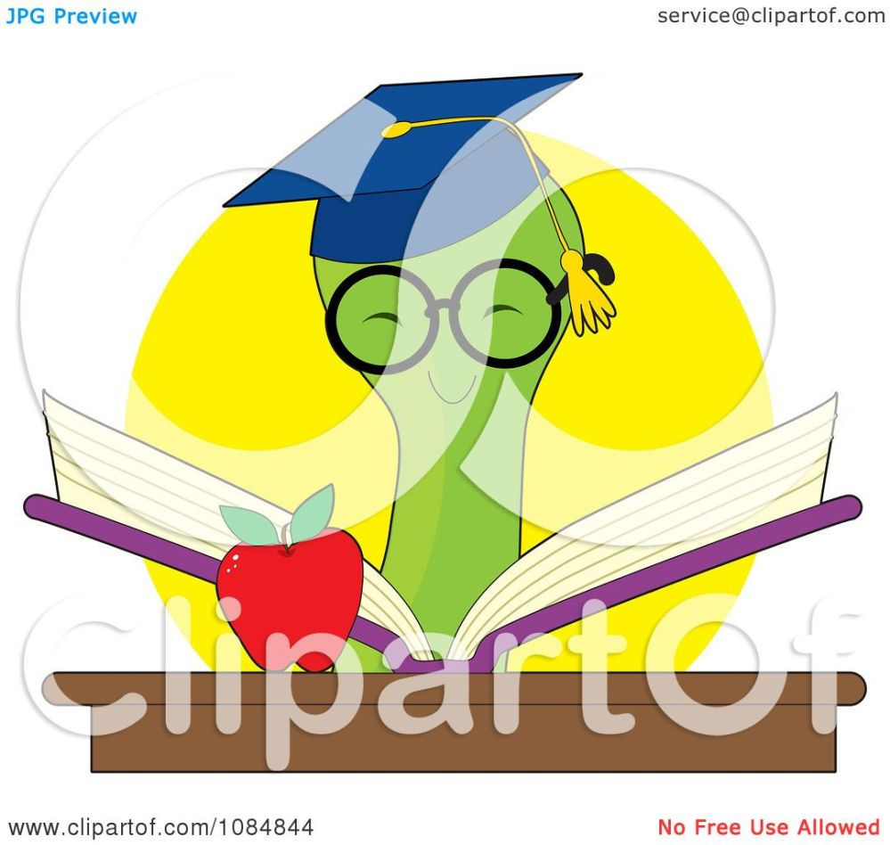 medium resolution of clipart smart bookworm reading a book by an apple royalty free vector illustration by maria bell