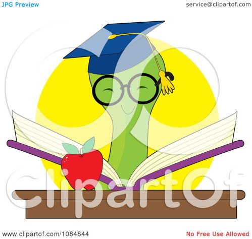 small resolution of clipart smart bookworm reading a book by an apple royalty free vector illustration by maria bell