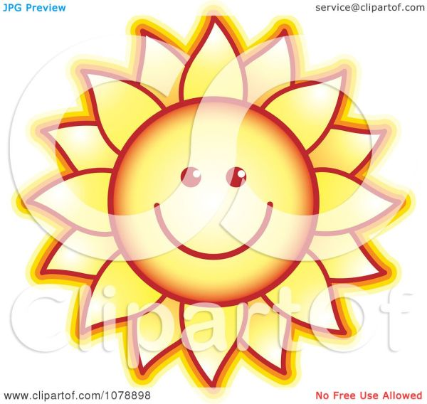 clipart smiling sunflower - royalty