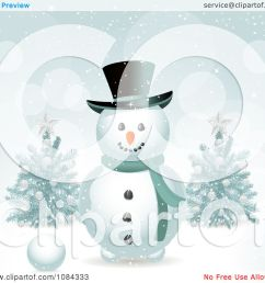 clipart snowman in the snow with christmas trees royalty free vector illustration by elaineitalia [ 1080 x 1024 Pixel ]