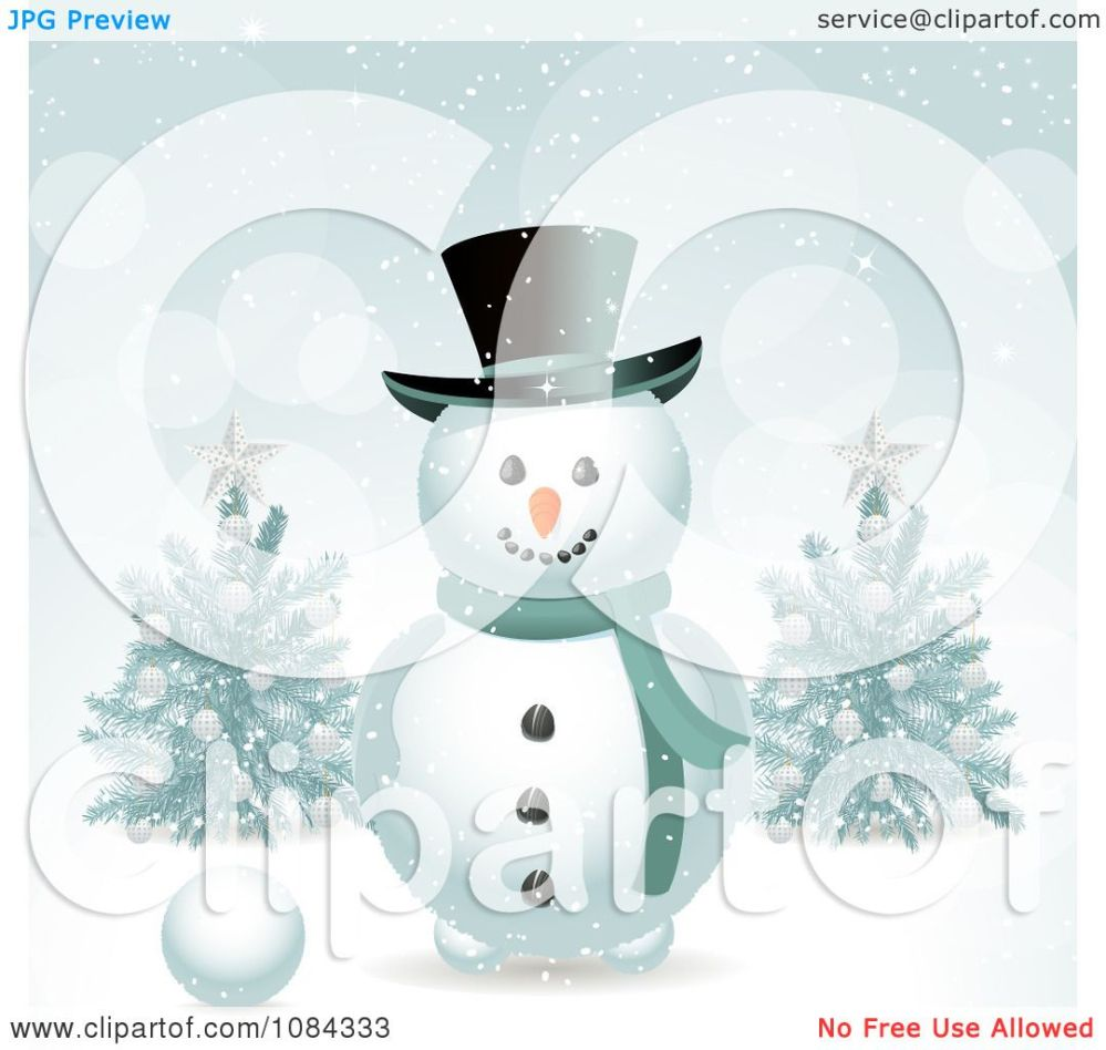 medium resolution of clipart snowman in the snow with christmas trees royalty free vector illustration by elaineitalia