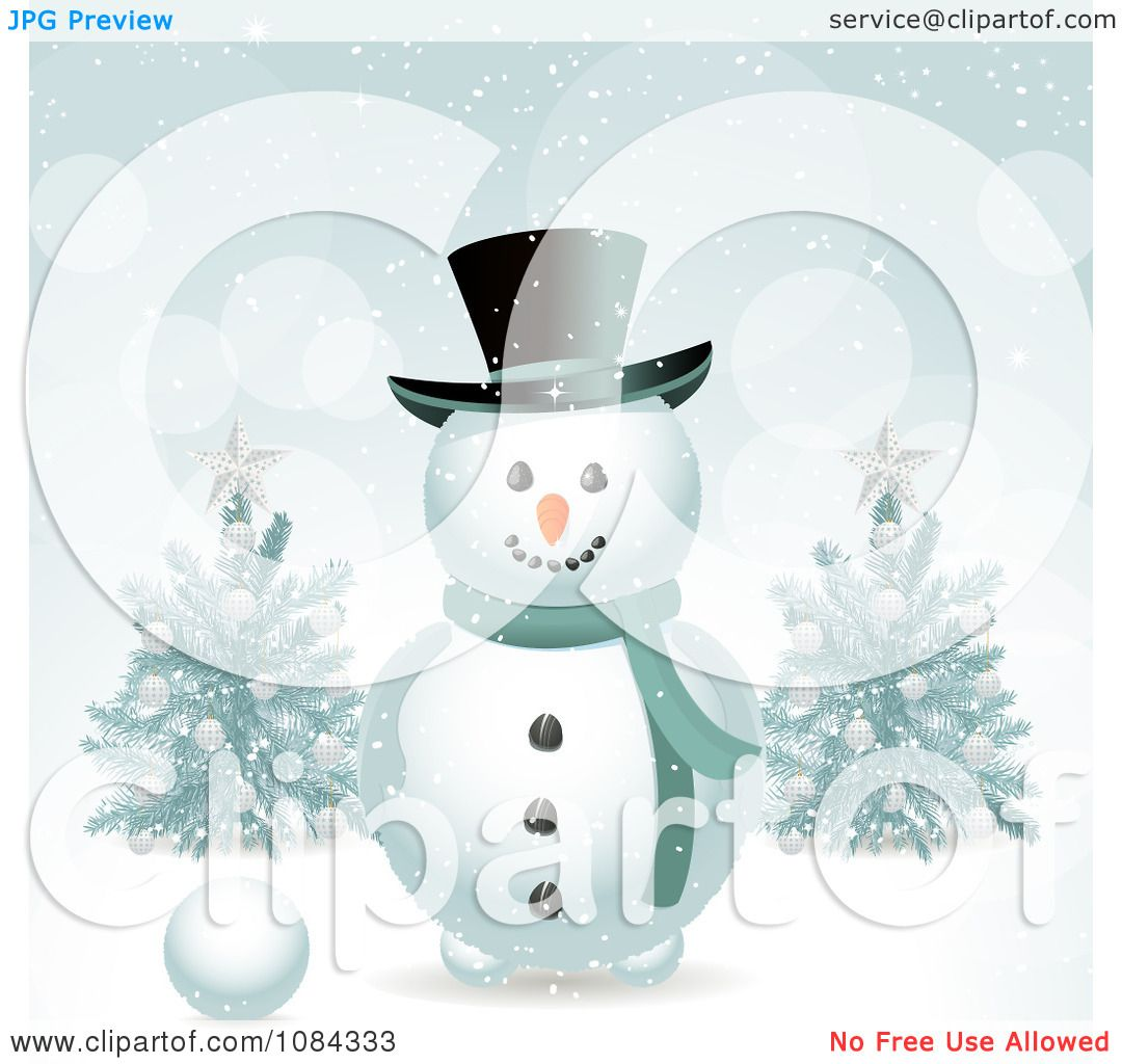 hight resolution of clipart snowman in the snow with christmas trees royalty free vector illustration by elaineitalia
