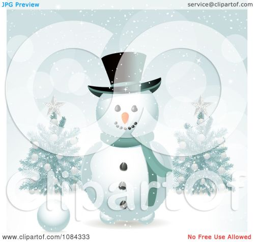 small resolution of clipart snowman in the snow with christmas trees royalty free vector illustration by elaineitalia