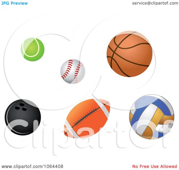 Clipart Sports Balls Digital Collage - Royalty Free Vector