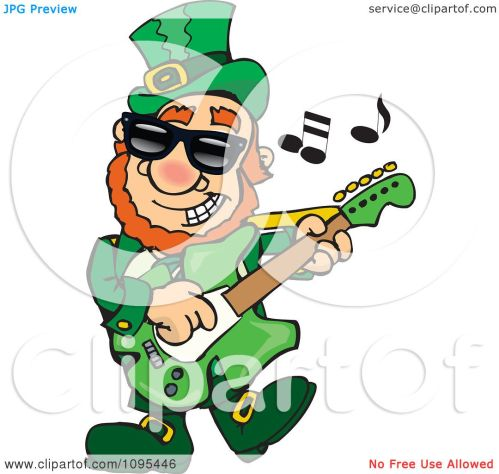 small resolution of clipart st patricks day leprechaun playing rock and roll st patrock royalty free vector illustration