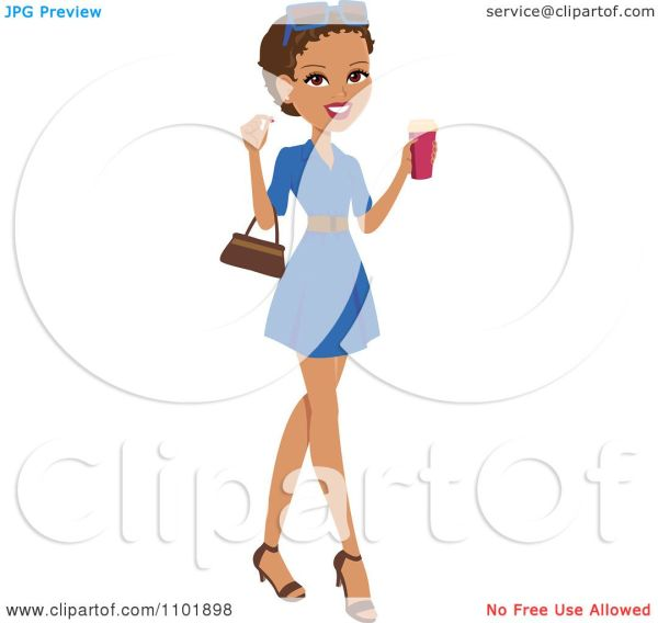 Clipart Stylish African American Hispanic Woman Holding Beverage And Wearing Blue Dress