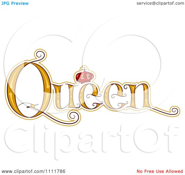 Clipart Stylized Word Queen With Crown - Royalty
