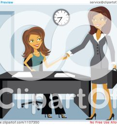 clipart two women shaking hands while meeting for a job interview royalty free vector illustration by amanda kate [ 1080 x 1024 Pixel ]