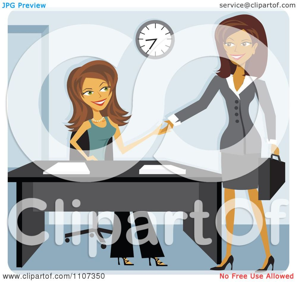 medium resolution of clipart two women shaking hands while meeting for a job interview royalty free vector illustration by amanda kate