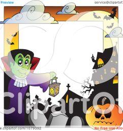 clipart vampire cemetery jackolantern and haunted house halloween border royalty free vector illustration by visekart [ 1080 x 1024 Pixel ]