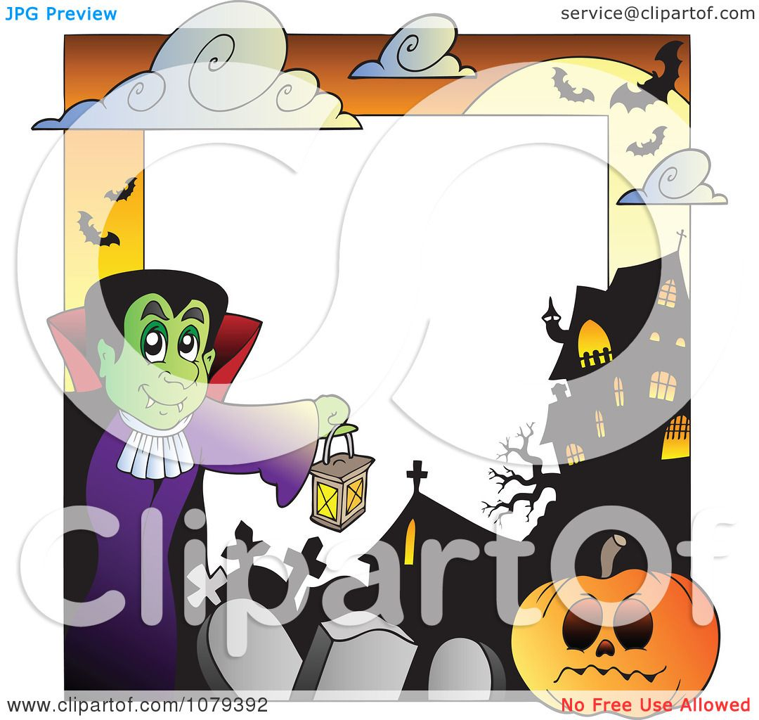 hight resolution of clipart vampire cemetery jackolantern and haunted house halloween border royalty free vector illustration by visekart