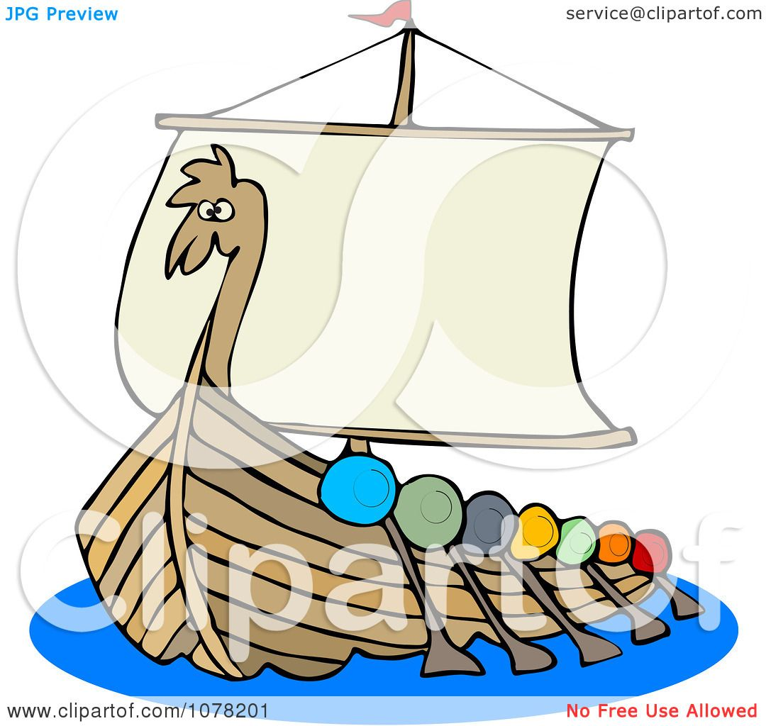 Clipart Viking Dragon Ship With Oars