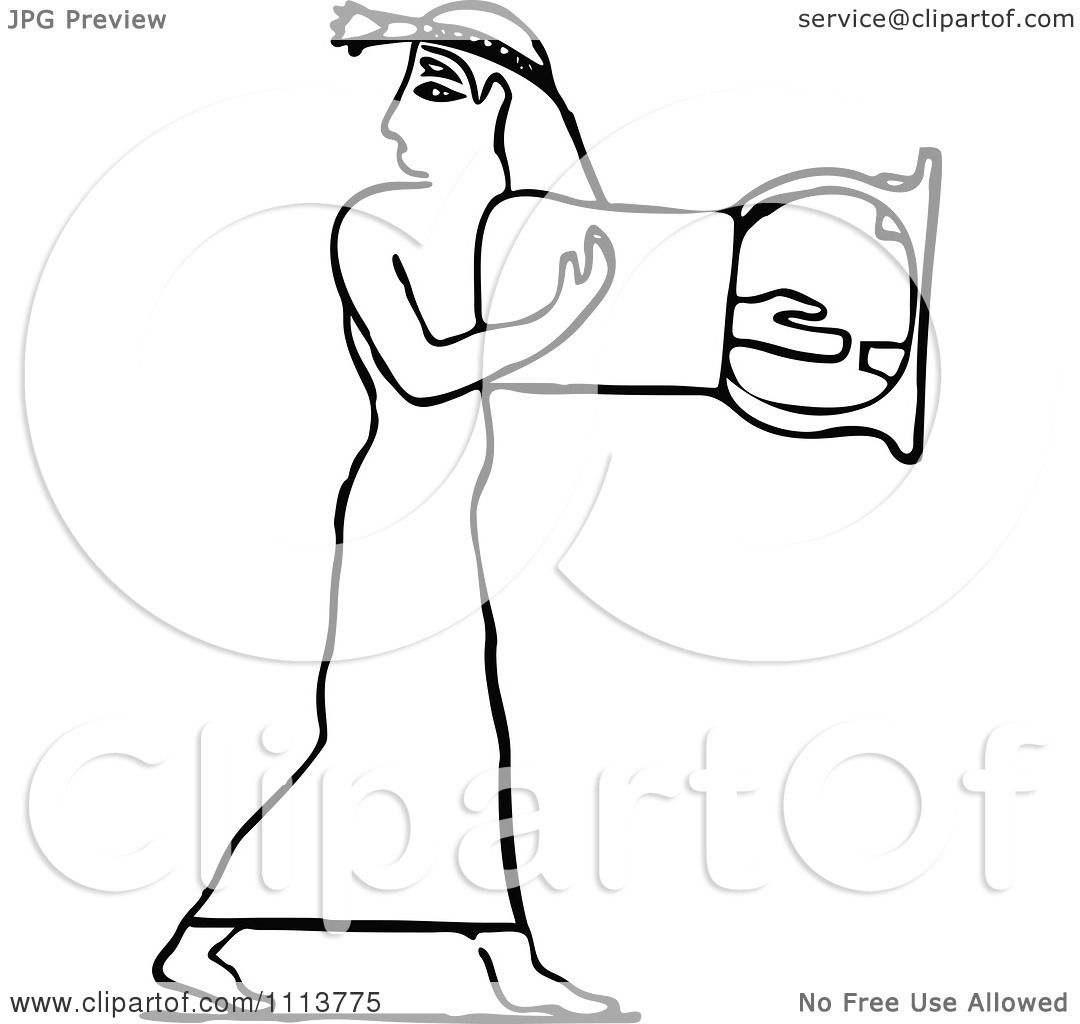 Clipart Vintage Black And White Ancient Egyptian Lyre Musician 2