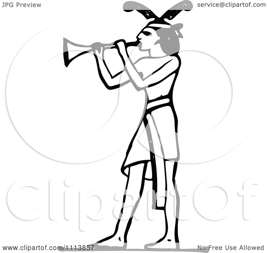 Clipart Vintage Black And White Ancient Egyptian Trumpet Musician