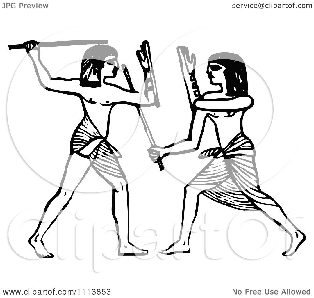 Clipart Vintage Black And White Ancient Egyptians Fencing