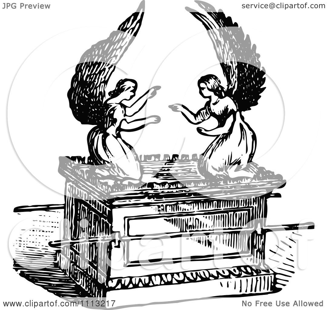 Clipart Vintage Black And White Angels On The Ark Of The