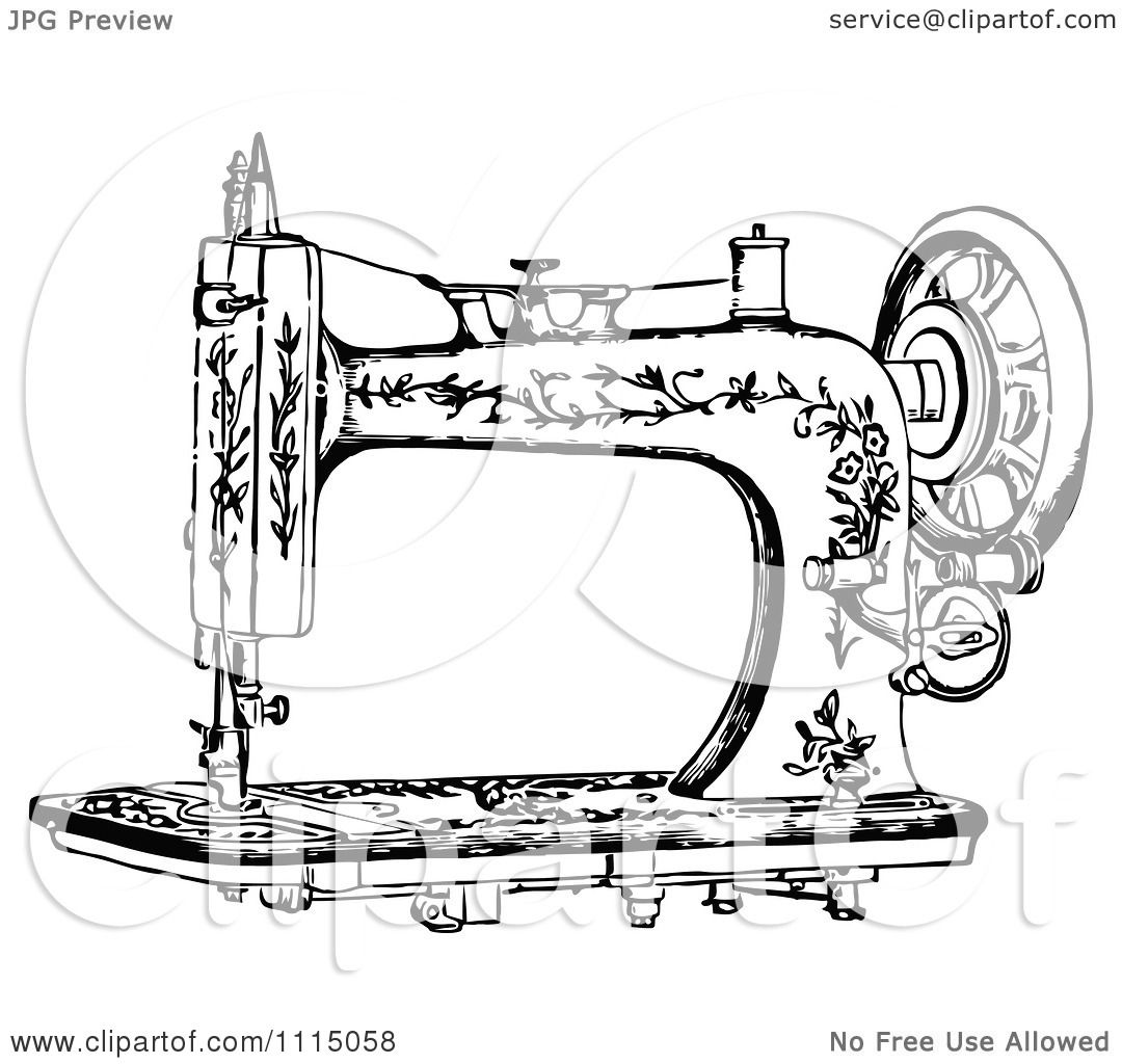 Clipart Vintage Black And White Antique Sewing Machine 1