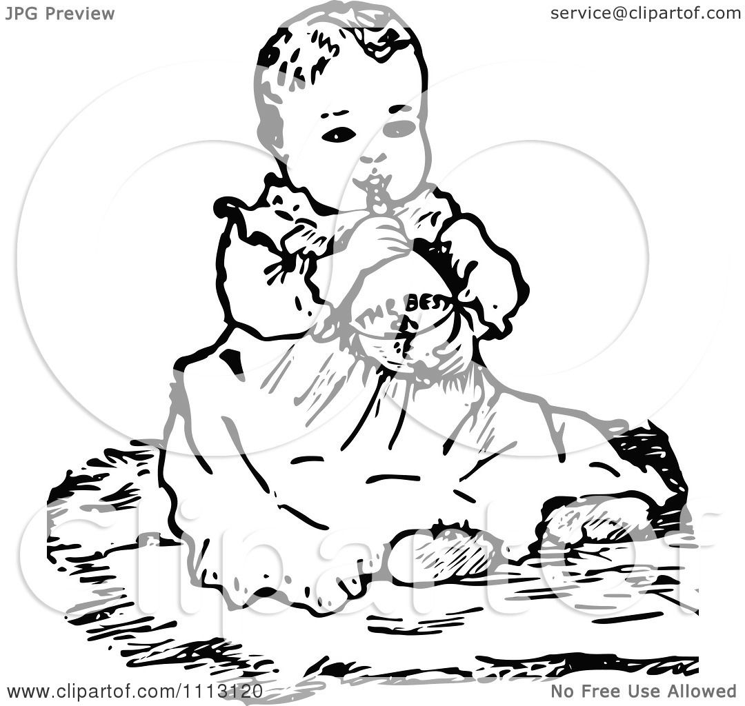 Clipart Vintage Black And White Baby Girl