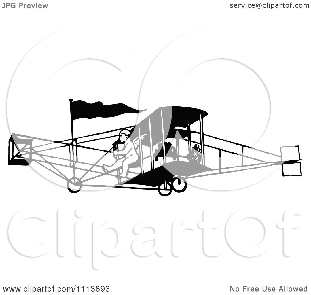Clipart Vintage Black And White Biplane And Pilot
