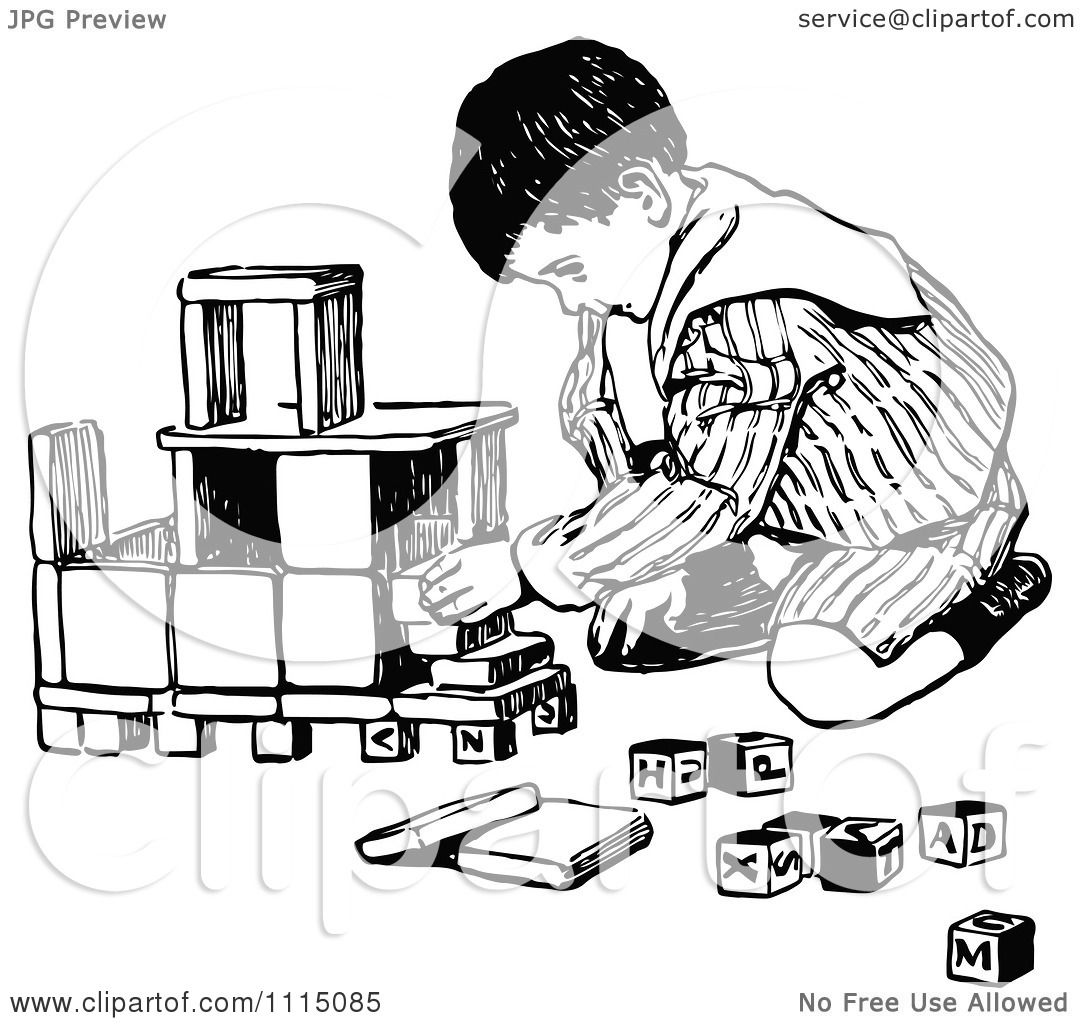 Clipart Vintage Black And White Boy Playing With Building