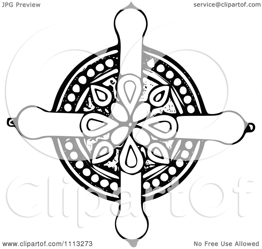 Clipart Vintage Black And White Celtic Cross 2