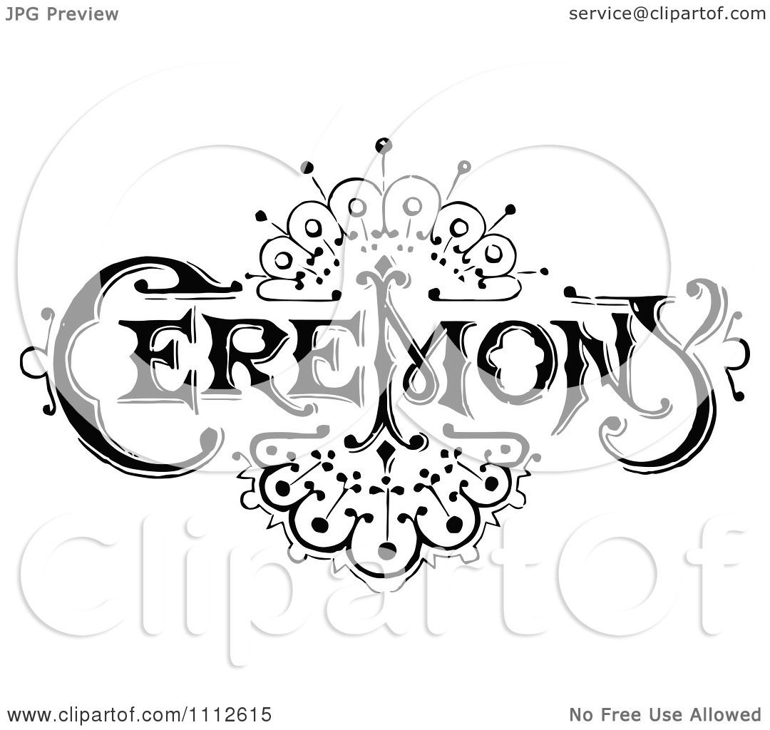 Clipart Vintage Black And White Ceremony Sign With An Art