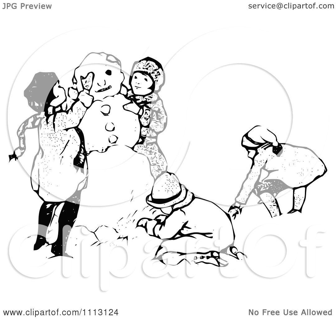 Clipart Vintage Black And White Children Making A Snowman