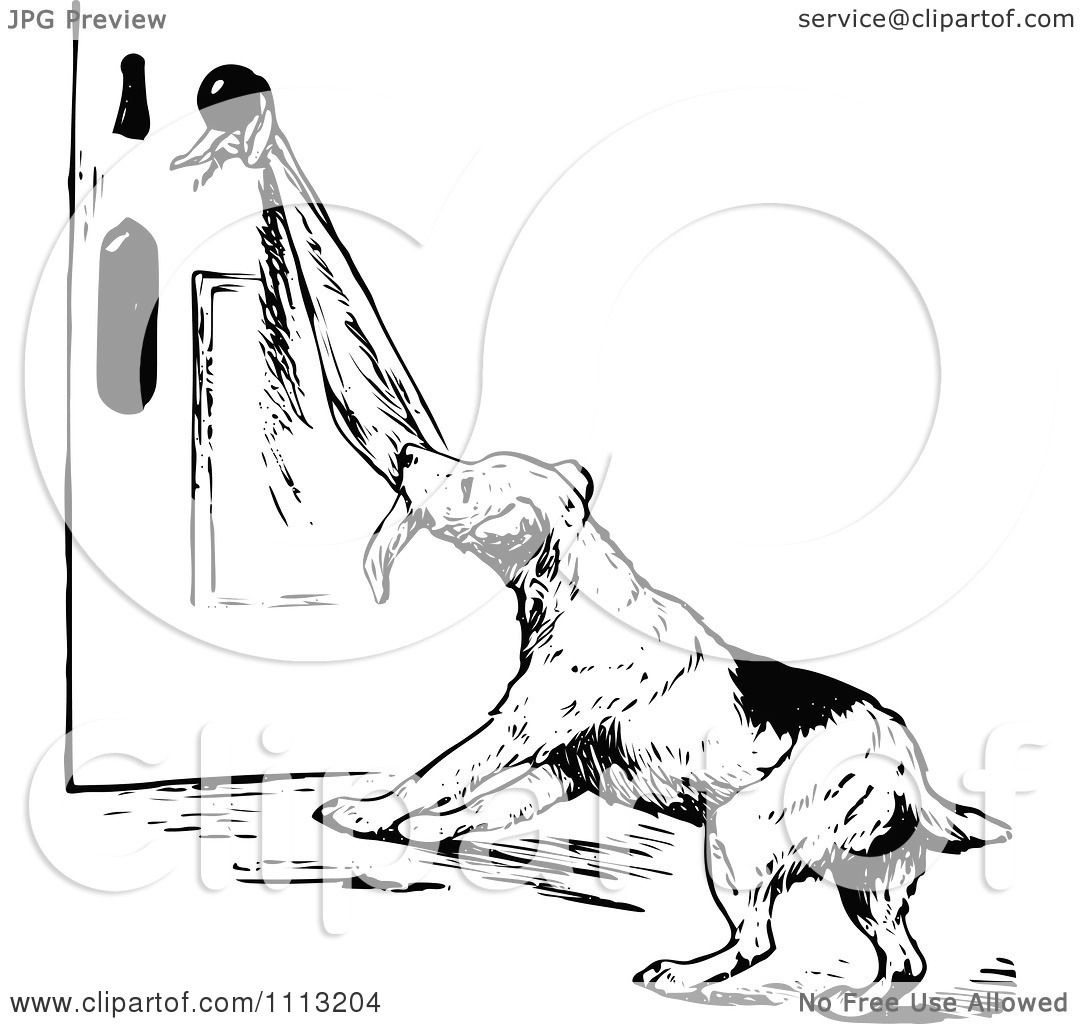 Clipart Vintage Black And White Dog Pulling On A Towel On