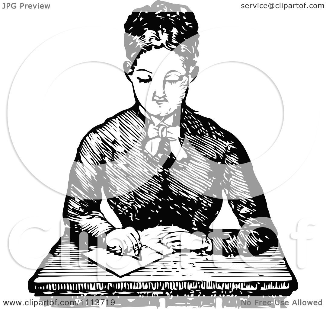 Clipart Vintage Black And White Female Teacher Writing At