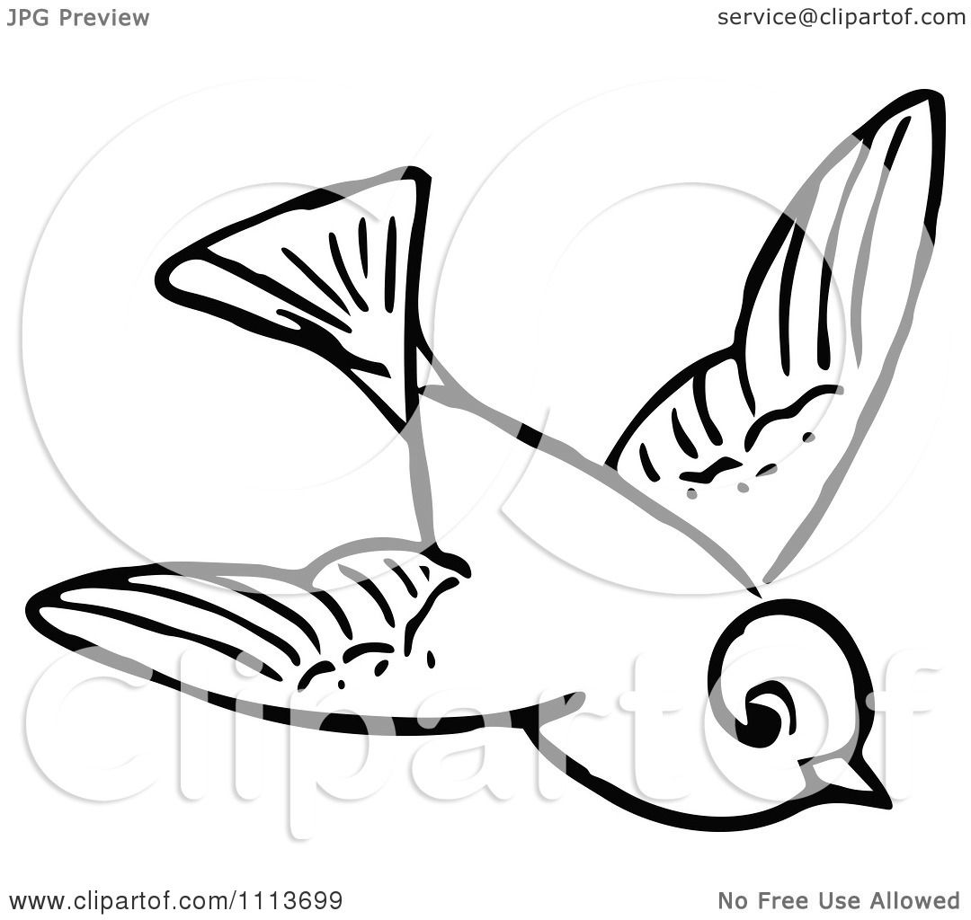 Clipart Vintage Black And White Flying Bird