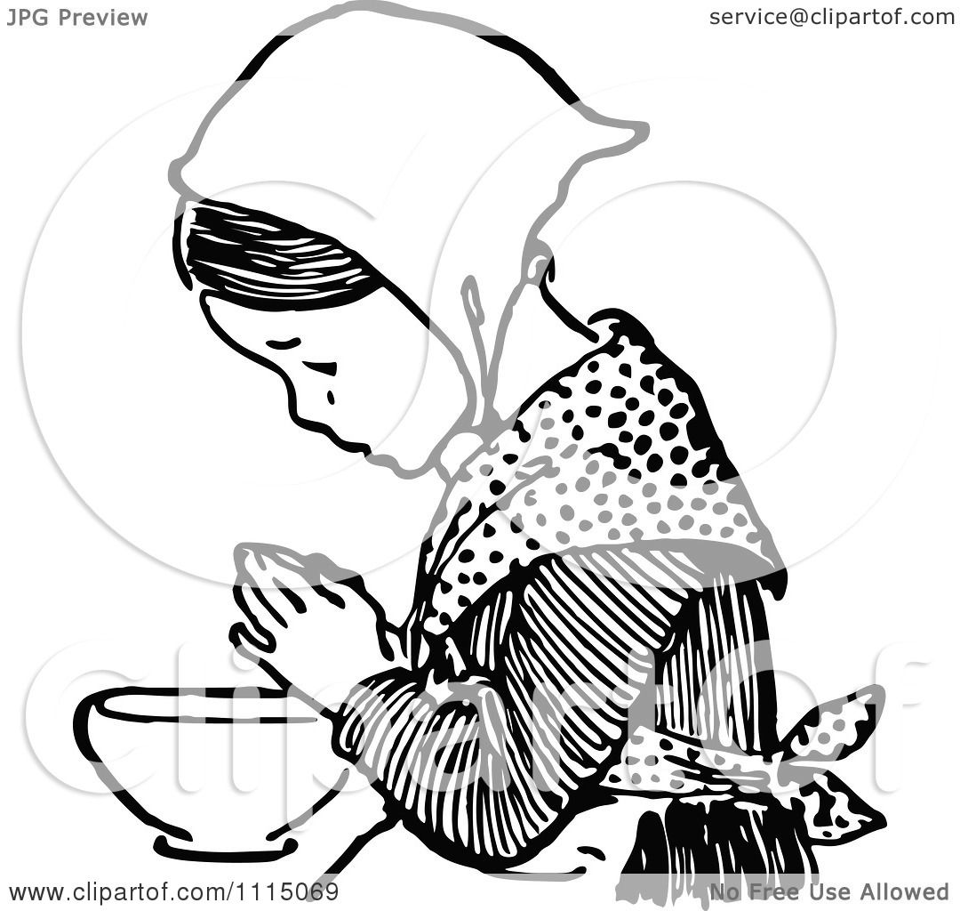Clipart Vintage Black And White Girl Praying Before Eating 4