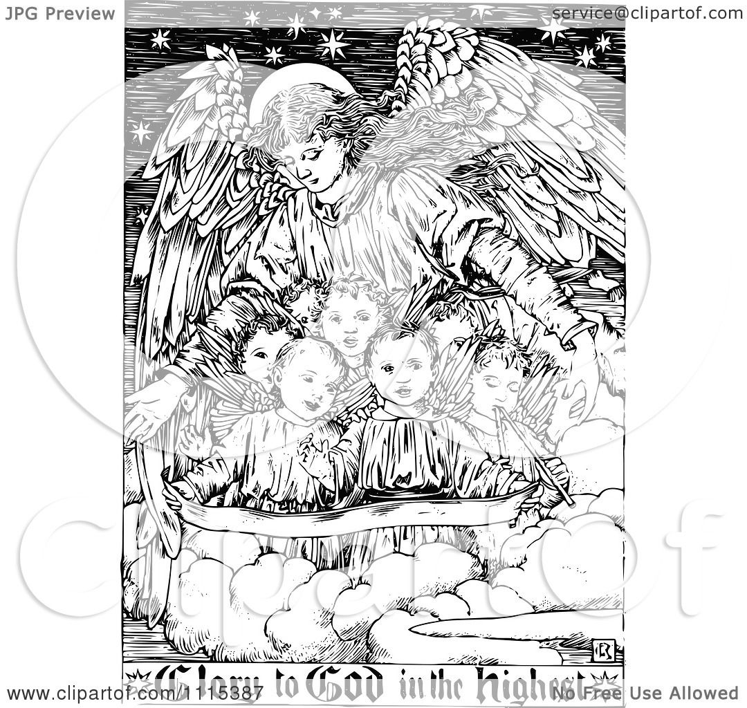 Clipart Vintage Black And White Guardian Angel With